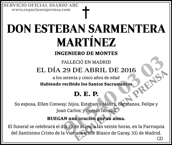 Esteban Sarmentera Martínez